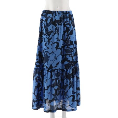 Susan Graver Petite Printed Knit Tiered Skirt A306528