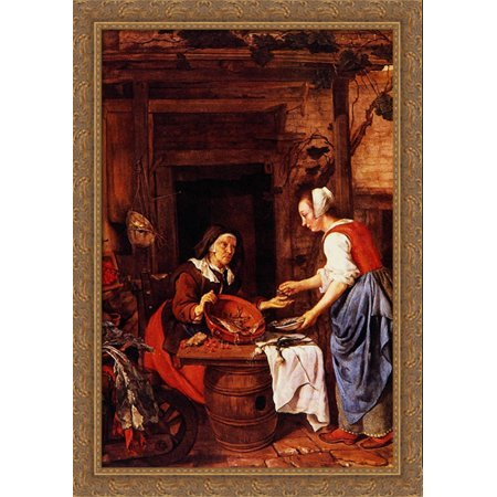 An Old Woman Selling Fish 28x40 Large Gold Ornate Wood Framed Canvas Art by Gabriel