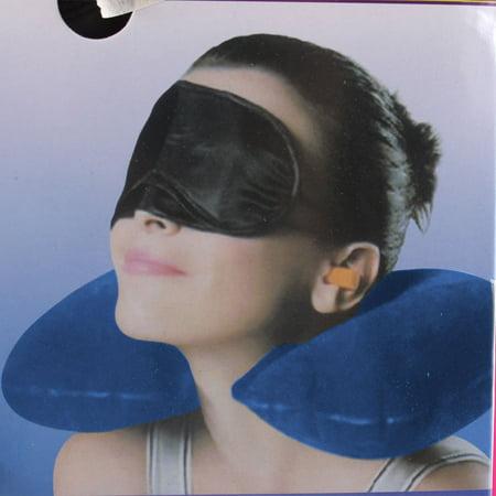 Bouchons d'oreille Masque Relaxant Oreiller Gonflable de Voyage 3en 1 - image 3 de 4