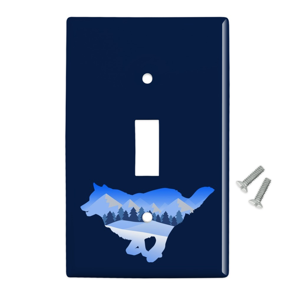 Wolf Silhouette Running Snow Scenery Plastic Wall Decor Toggle Light Switch Plate Cover Walmart Com Walmart Com
