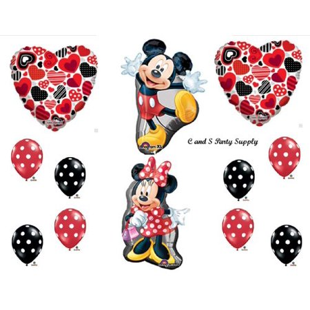 RED MICKEY AND MINNIE MOUSE DECORATIVE Hearts BIRTHDAY PARTY Balloons Decorations Supplies by Anagram](Minnie Mouse Red Party Supplies)