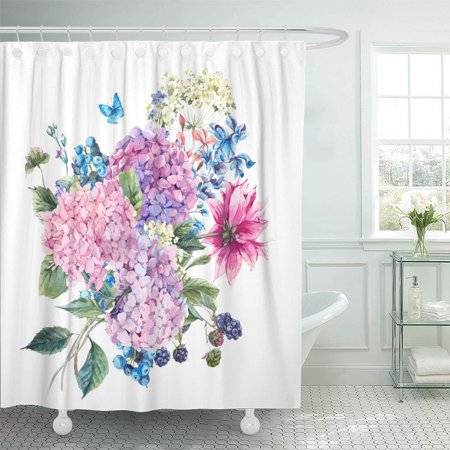 XDDJA Summer Watercolor Vintage Floral Blooming Hydrangea and Garden Flowers Shower Curtain 66x72 inch - image 1 of 1
