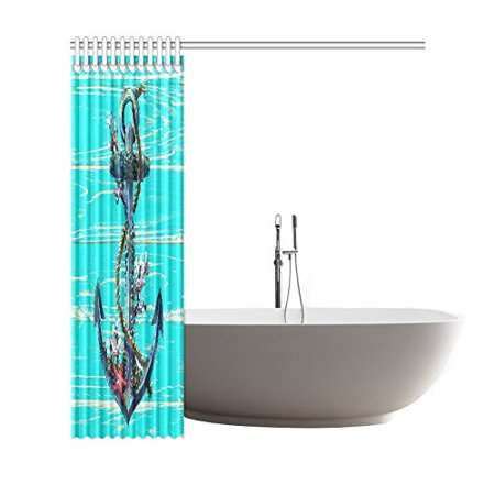 GCKG Nautical Anchor Shower Curtain 66x72 Inches Waterproof Polyester Fabric Bathroom Sets Home Decor - image 2 de 3