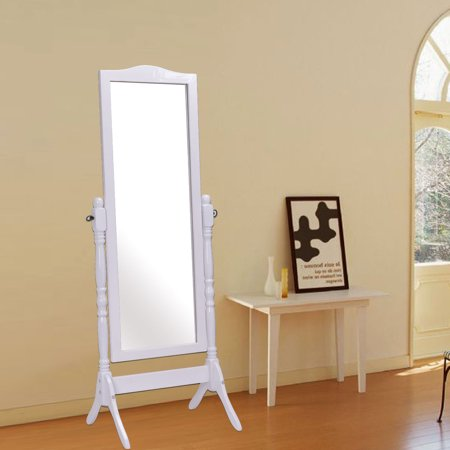Costway full length dressing mirror swivel wood cheval for Standing mirror for bedroom