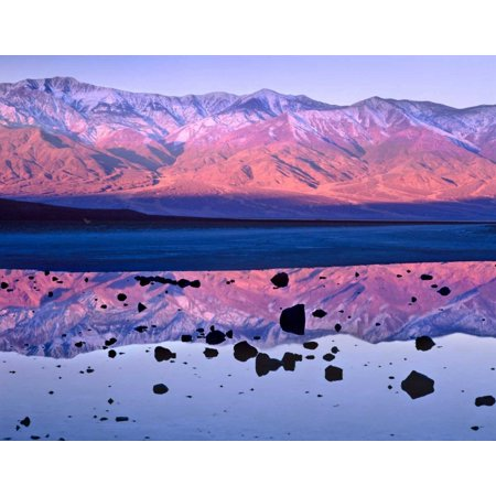 Panamint Range reflected in standing water at Badwater Death Valley National Park California Poster Print by Tim