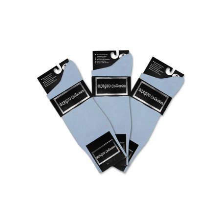 3 Pair of Biagio Solid Light BLUE Color Men's COTTON Dress SOCKS ()