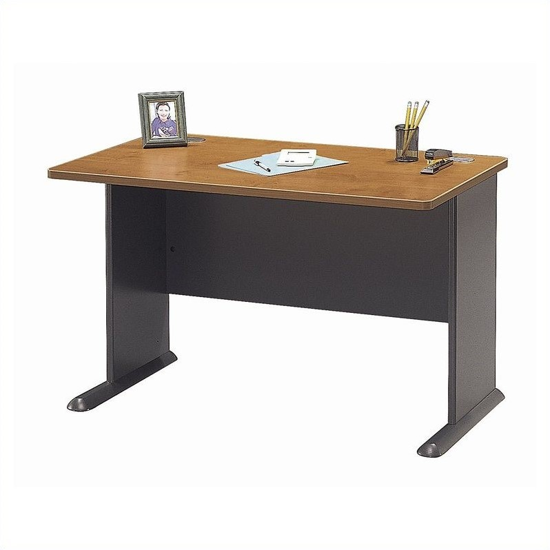 Bush Business Furniture Series A 48W Desk in Natural Cherry and Slate - image 2 de 4