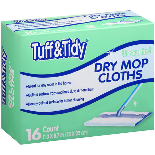 Tuff & Tidy Unscented Dry Mop Cloths, 16 ct