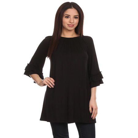 NEW MOA Women's Solid Casual Basic 3/4 Sleeve Knit Top Tunic Tee/Made in USA 3/4 Sleeve Knit Top