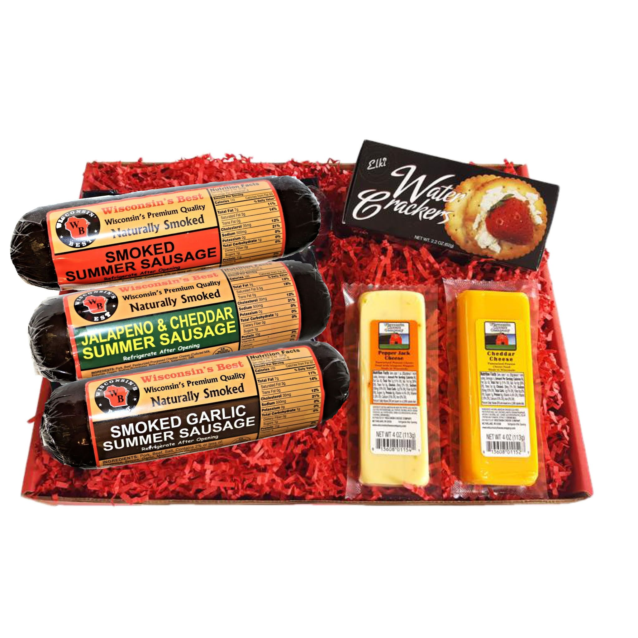 wisconsin's best snacker gift basket with cheeses and summer sausages made in wisconsin, 6 pc