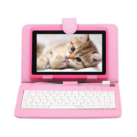 7  Tablet Google Android 6 0  Quad Core  Hd 1024X600  Dual Camera  Wi Fi  1Gb 8Gb Play Store Netfilix Skype 3D Game Supported  Gms Certified Irulu Expro 3 Tablet  X3  X37 With Keyboard Case  Pink