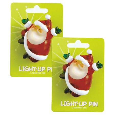 Lights Up Santa Claus Christmas Fun Pins Set of 2 - Pin Up Lights