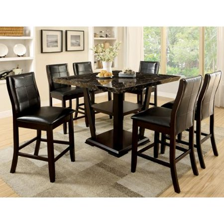 Furniture Of America Elivia Modern 7 Piece Faux Marble Counter Height Dining