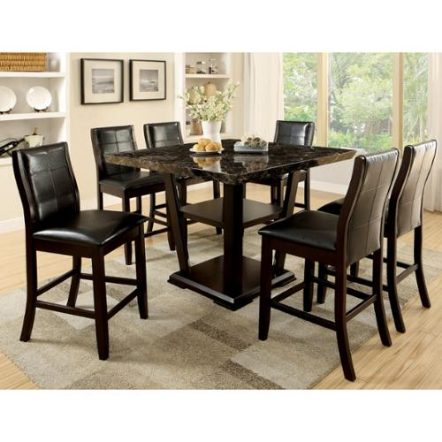 Furniture Of America Elivia Modern 7 Piece Faux Marble Counter Height Dining  Set
