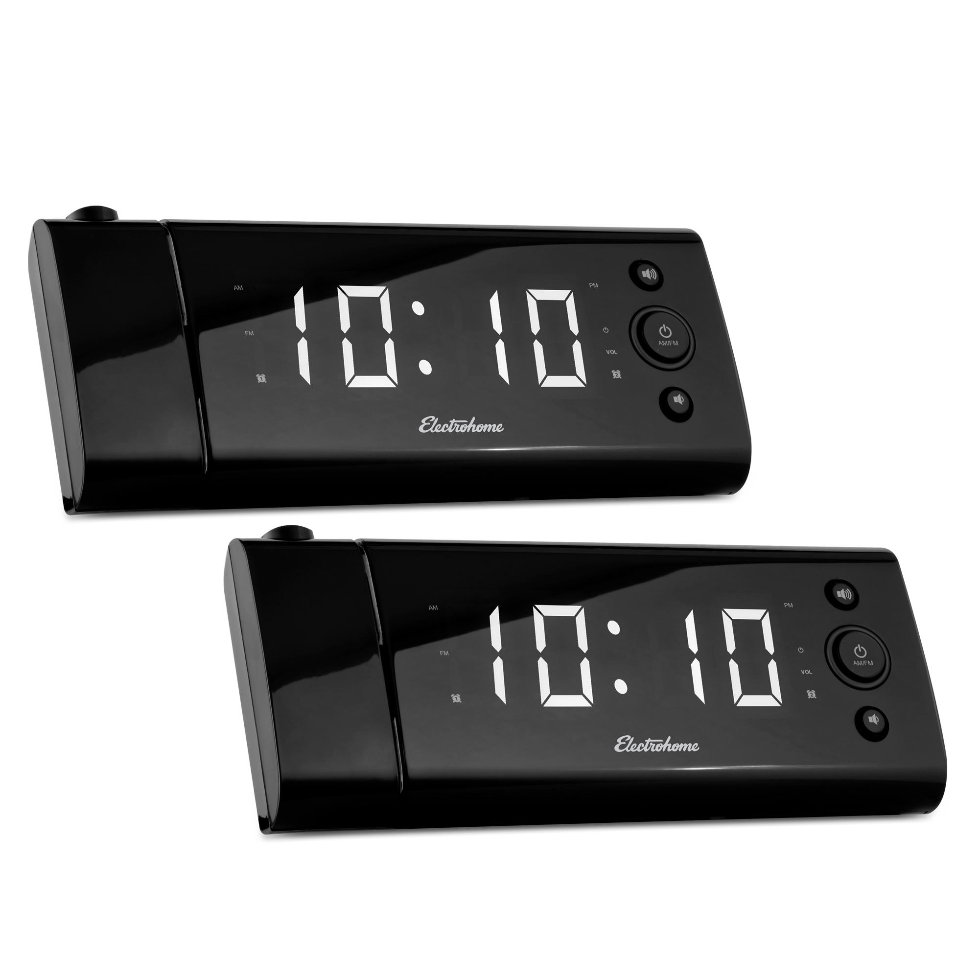 """Electrohome USB Charging Alarm Clock Radio with Time Projection, Battery Backup, Auto Time Set, Dual Alarm, 1.2"""" LED Display for Smartphones & Tablets - 2 PACK"""