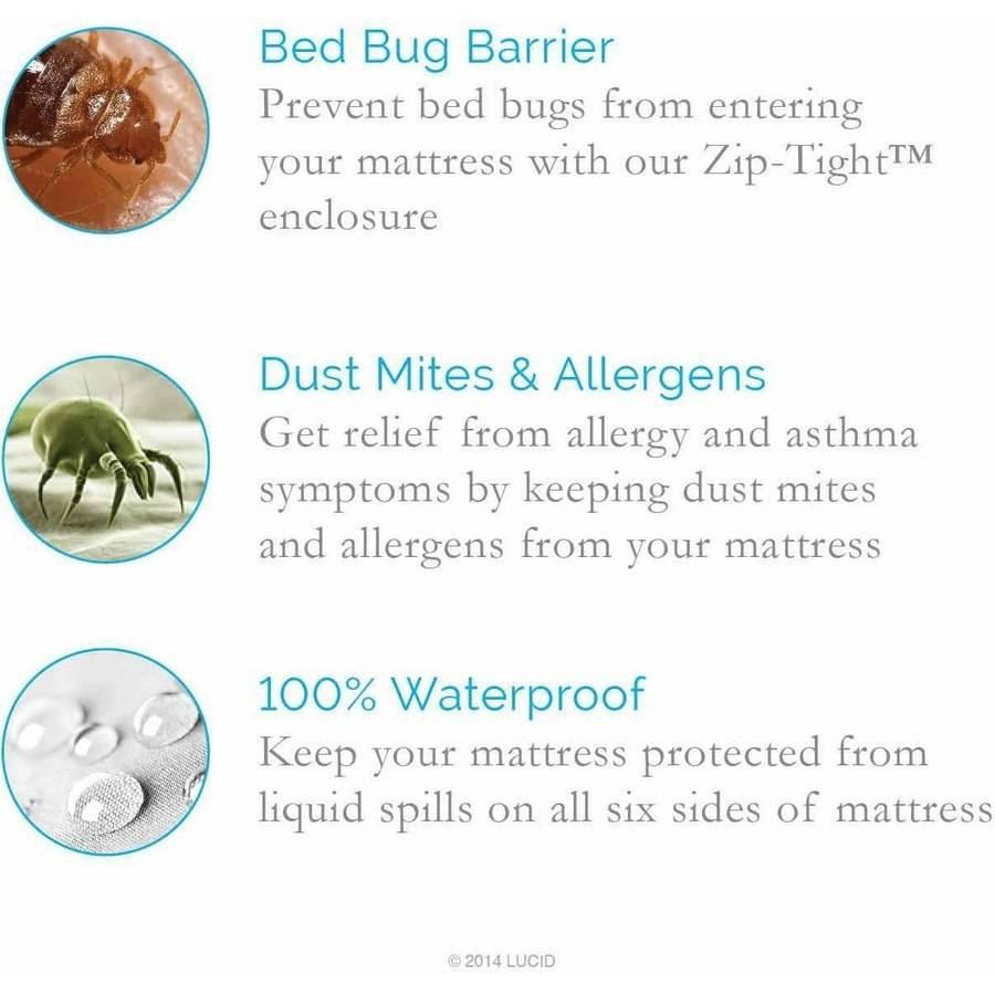 lucid zippered mattress encasement bed bug and waterproof