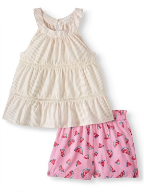 9e6c132cf Product Image Forever Me Tiered Tank Top & Printed Shorts, 2pc Outfit Set  (Toddler Girls)