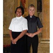 CBCS 128WHT-3X Womens Short Sleeve Tab Collar Blouse, White - Size 3X