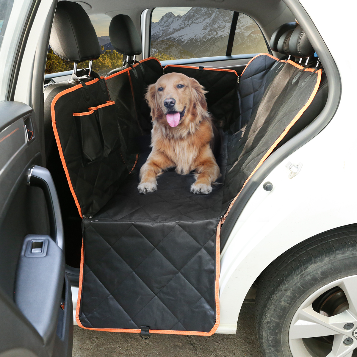 Dog Car Seat Cover with Storage Pocket, Mesh Viewing design, Non-Scratch Material and Waterproof, Seat Anchors and Nonslip Backing, Ideal for Dog Travel/Short & Long Travel, Suit for Car and Truck