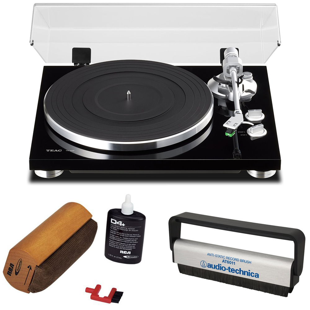 Teac 2-Speed Analog Turntable Black (6-TN-300-B) with RCA D4+ Vinyl Record Cleaning Fluid System &... by Teac