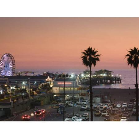 California, Los Angeles, Santa Monica, Santa Monica Pier, Dusk, USA Print Wall Art By Walter Bibikow