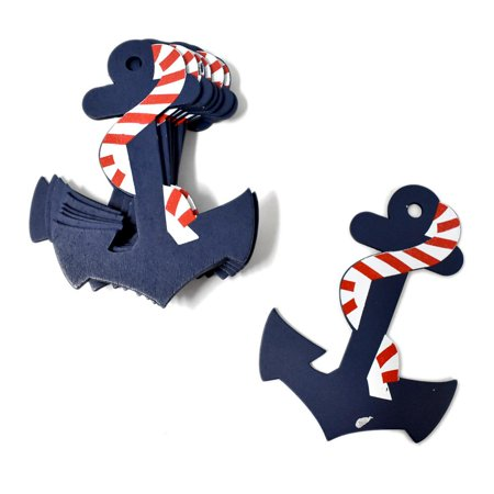 Large Nautical Anchor Wooden Baby Favors, Navy, 4-1/2-Inch - Nautical Baby Shower Favors
