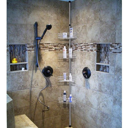 4 Tier Metal Bathroom Telescopic Corner Shower Shelf Caddy Pole Wall Rack Storage Organizer Soap Holder Black Silver Walmart Canada