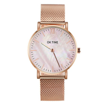 - Simple Slim Watch Analog Quartz Waterproof Stainless Steel Mesh Strap Band Thin Casual Elegant Wrist Watches for Women (Rose Gold)