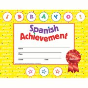 Hayes Spanish Achievement Stick-to-It Reward Certificate, 8-1/2 x 11 inches, Pack of 30