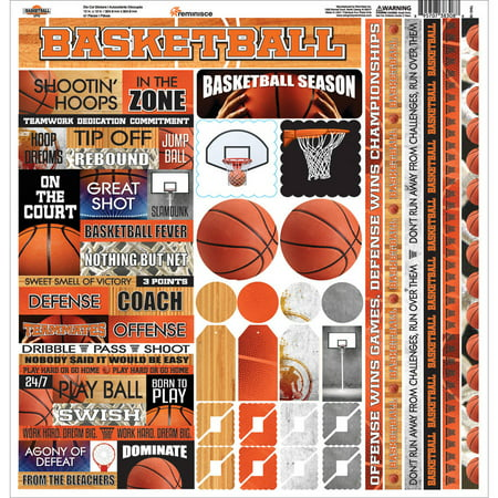 Embossed Cardstock Stickers (Basketball Cardstock Sticker, 12