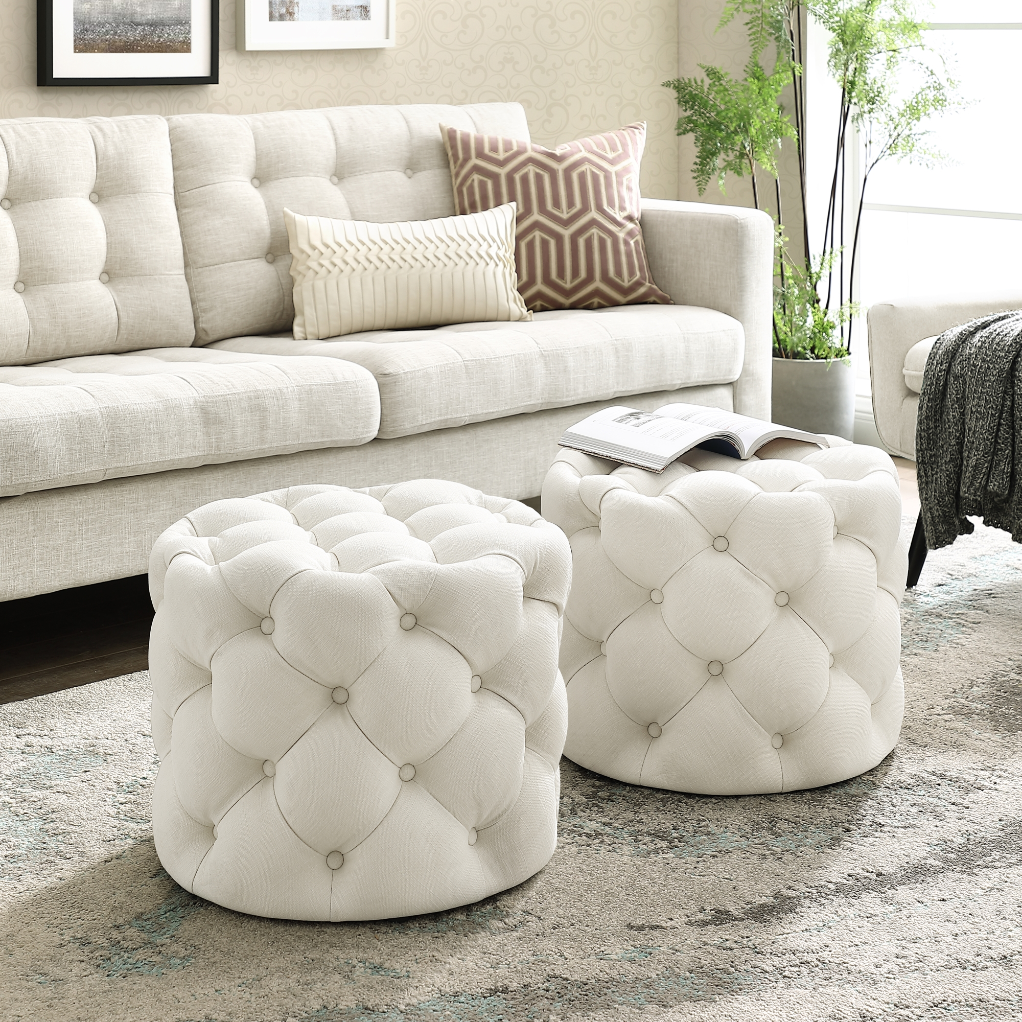 Perilous Cream White Linen Ottoman - Allover Tufted | Round | Modern Contemporary | 1 PC