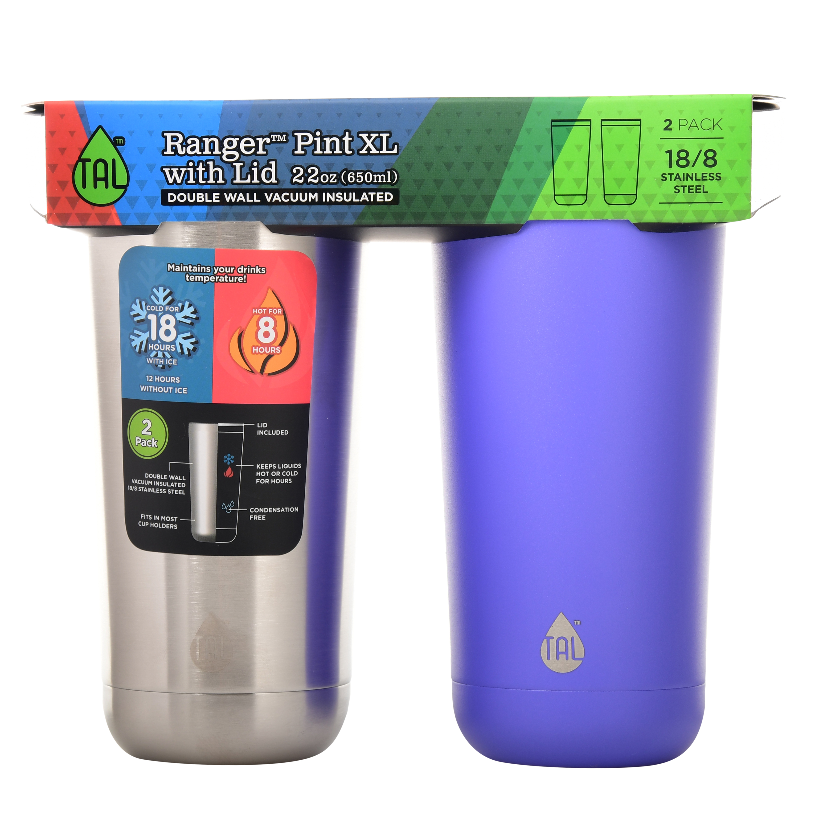 Tal 22 Ounce Stainless Steel Double Wall Vacuum Insulated Ranger Pint Purple Water Bottle, 2 Count