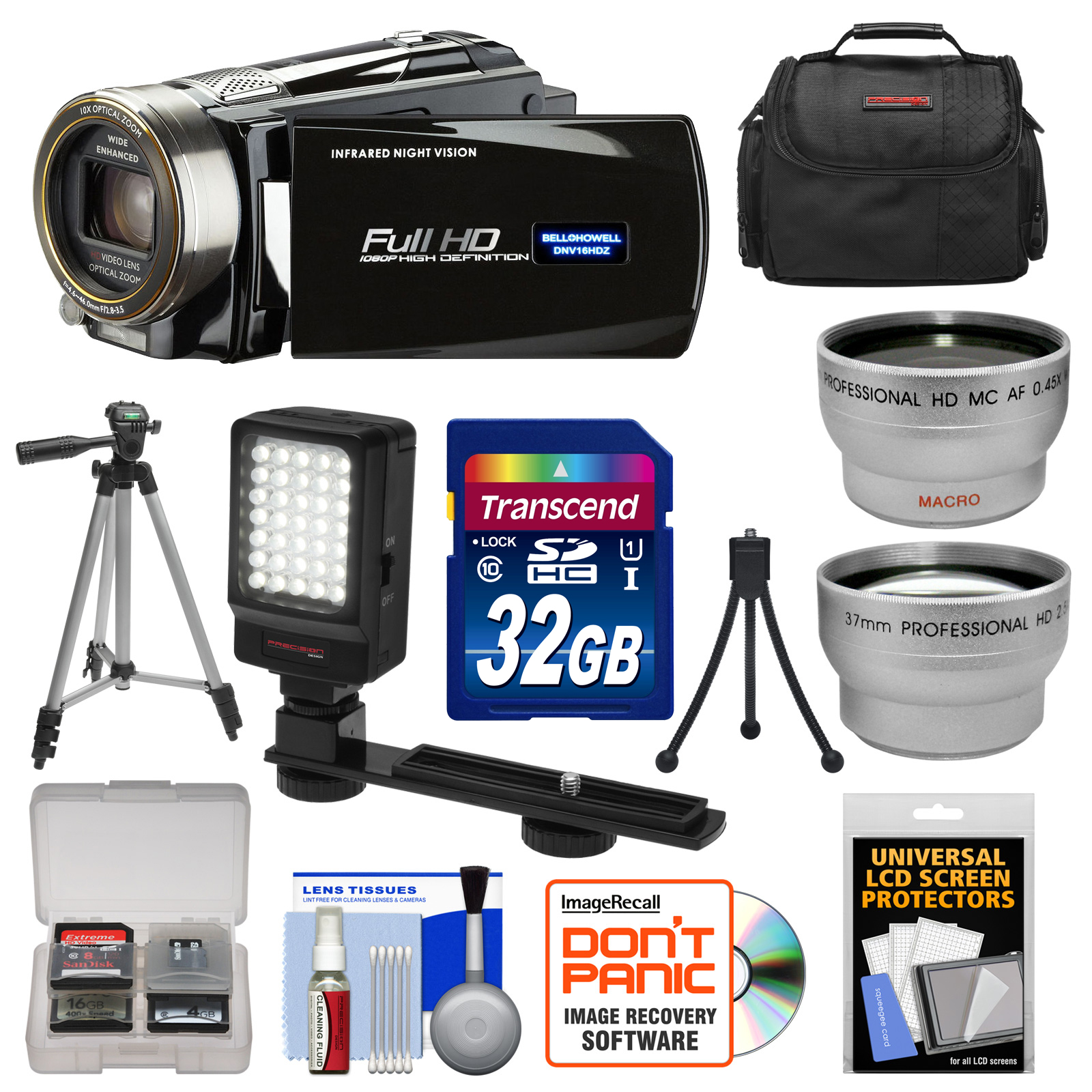 Bell & Howell DNV16HDZ 1080p HD Video Camera Camcorder with Infrared Night Vision (Black) with 32GB Card + Case + Tripod + Video Light + Wide Angle & Telephoto Lenses + Accessory Kit