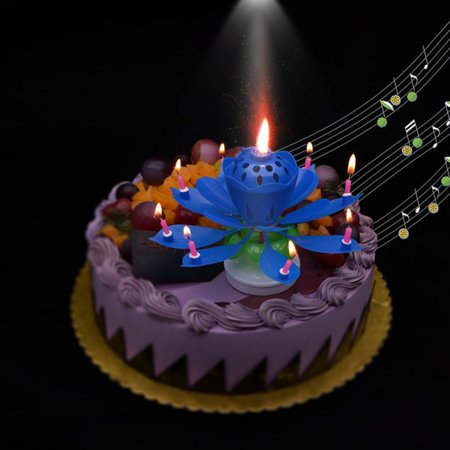 Rotating Lotus Flower Music Birthday Candle Blossom Party Cake