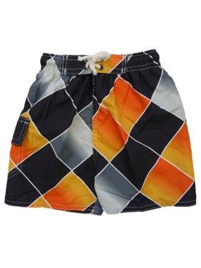 Quad Seven Infant & Toddler Boys Orange Diamond Swim Trunks Board Shorts