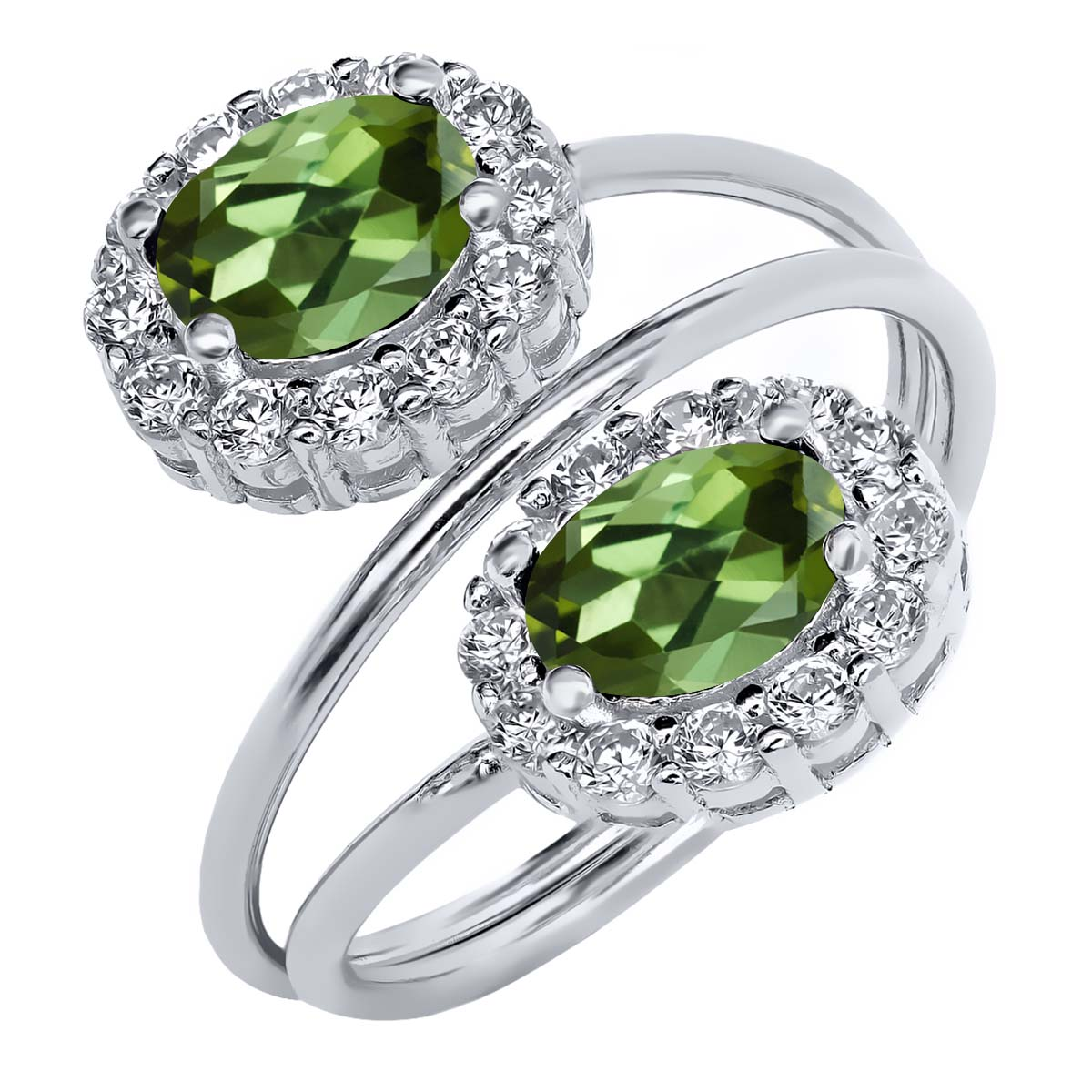 2.48 Ct Oval Green Tourmaline 925 Sterling Silver Ring by