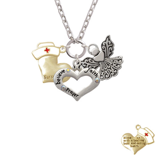 Gold Tone Nurse's Prayer Heart - Healing Hand Believe Faith Prayer Heart and Angel Zoe Necklace