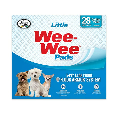 Products Wee-Wee Housebreaking Pads for Little Dogs - 28 pack, Dog training pad with plastic border to contain liquid By Four