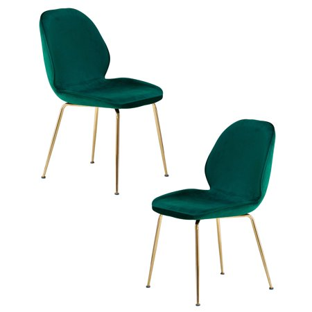 Best Master Furniture Tara Green Velvet and Gold Dining Chair, Set of 2 ()