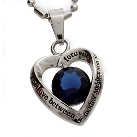 Stainless Steel Mother and Son Dark Blue Glass Crystal Heart Pendant Necklace