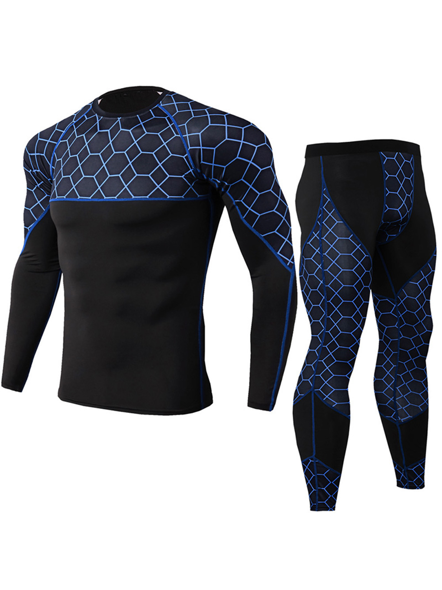 Mens Sport Compression Base Layer Set Long Johns Quick Dry Tight Top Bottom Suit