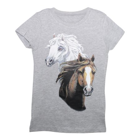 Girls Grey White Brown Horse Print Cotton Short Sleeved T-Shirt - Horse Gifts For Girls