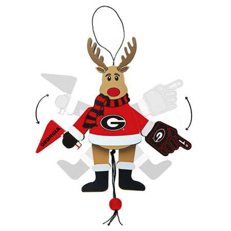 Topperscot by Boelter Brands NCAA Wooden Cheering Reindeer Ornament, University of Georgia Bulldogs - Georgia Bulldogs Gift Box