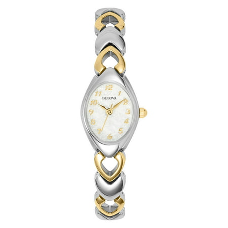 Bulova Women's Dress Silver-Tone And Gold-Tone Steel White Dial Movement: Quartz Bulova Bangle Steel Ladies Watch
