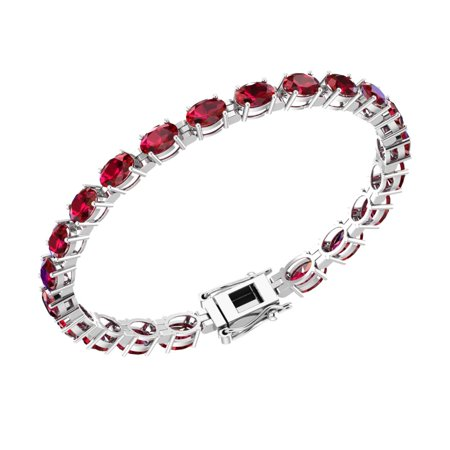 Ruby Bracelet Slide (Sterling Silver 12.6 CTTW Lab-grown Ruby Tennis Bracelet for)