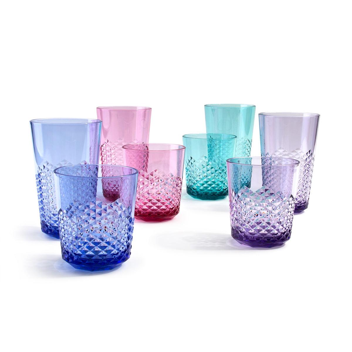 Cupture Diamond Plastic Tumblers, 24 oz / 14 oz, 8-Pack (Assorted Colors)