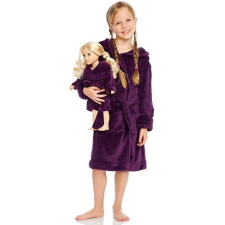 Leveret Purple Matching Doll Hooded Robe 6 Years - Brown Hooded Robe