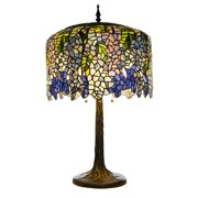 """River of Goods Grand Wisteria Tiffany Style Stained Glass 29.5"""" Table Lamp"""