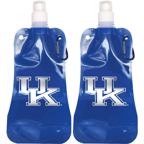 NCAA 16 oz Kentucky Wildcats Foldable Water Bottle Set, 2pk