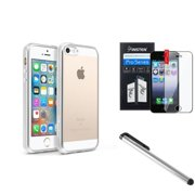 BasAcc Clear TPU Back Cover with Silver Chrome Edge Bumper For iPhone SE 5S 5 (with Protector + Stylus)